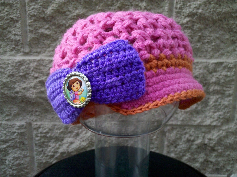 Crocheted Dora the Explorer inspired Toddler Brimmed Hat Cap. $20.00, via Etsy.