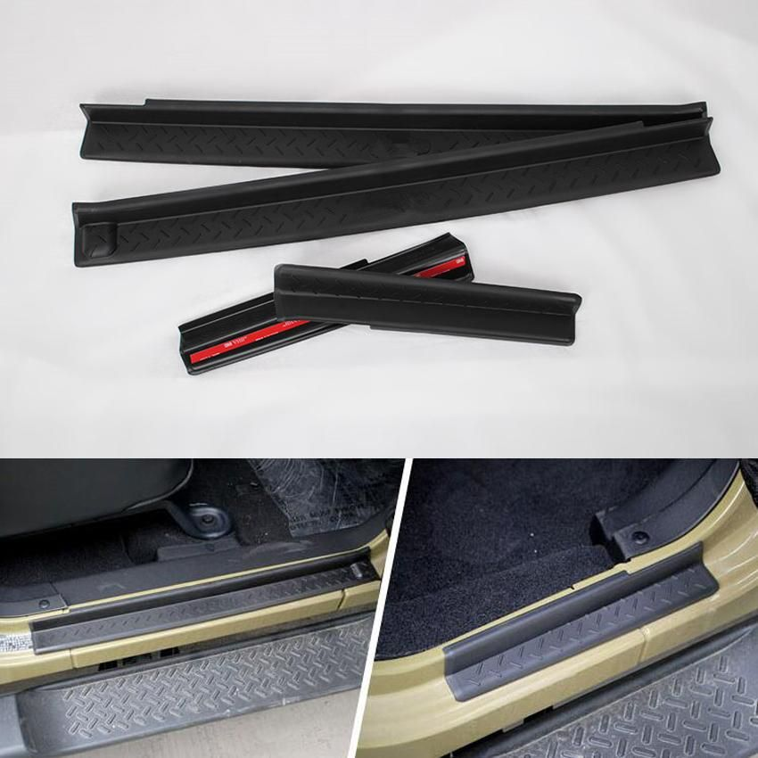 4pcs/set Black ABS Nonslip Door Sill Entry Guards Strips