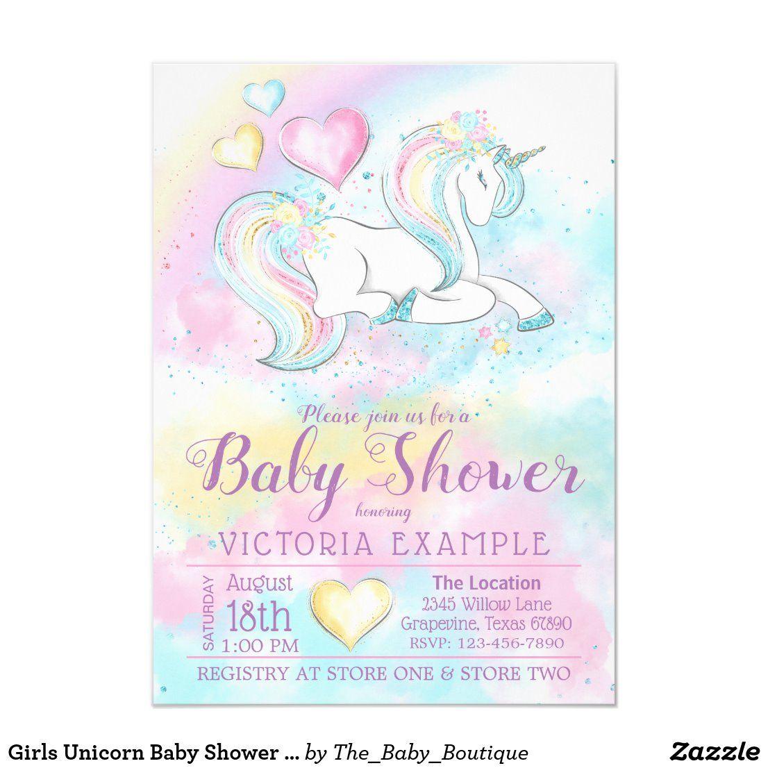 Girls Unicorn Baby Shower Invitations in 2020 Unicorn