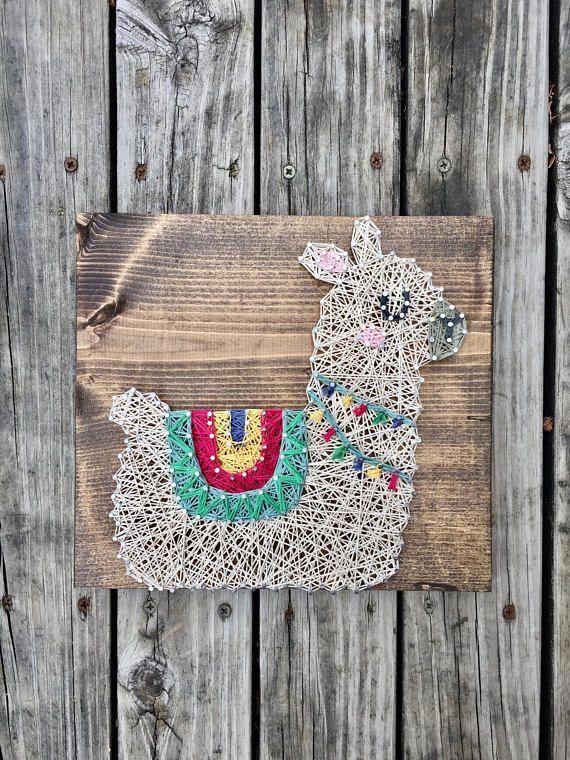 Lama String Art, Lama Kindergarten, Lama-Dusche-Geschenk, Baby Lama Zeichen, Wandbilder Kinderzimmer Dekor Lama, Alpaka, Lama-Baby-Dusche, Lama Kindergarten #setinstains