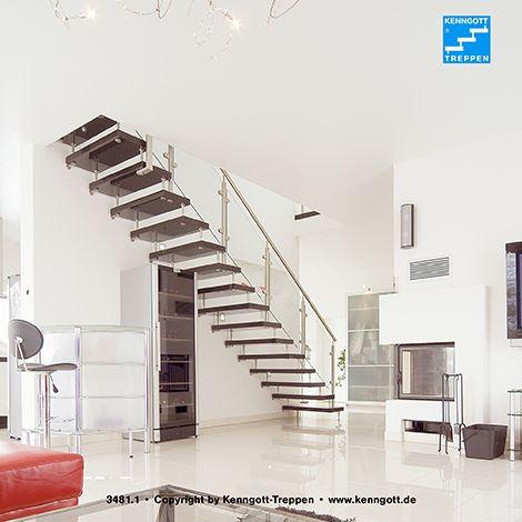 Kenngott treppe terzo stufen graphitblack freitragende for Flur garderobe glas edelstahl