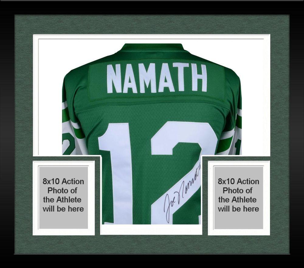 Framed Joe Namath New York Jets Autographed Green Mitchell   Ness Replica  Jersey dffcfdd85
