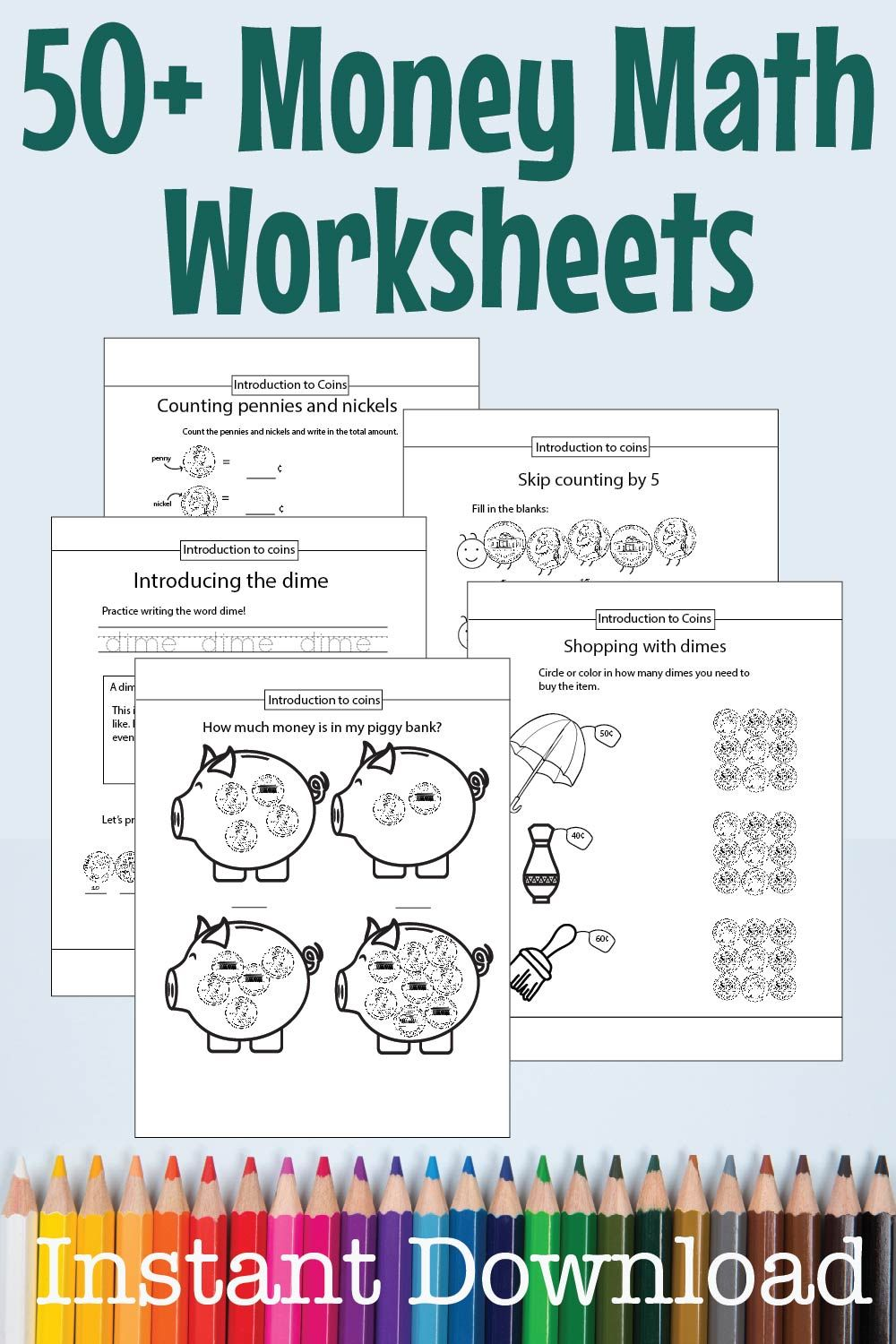 Counting Coins Money Math Worksheet 50 Page Bundle Instant Etsy Money Math Worksheets Money Math Money Worksheets