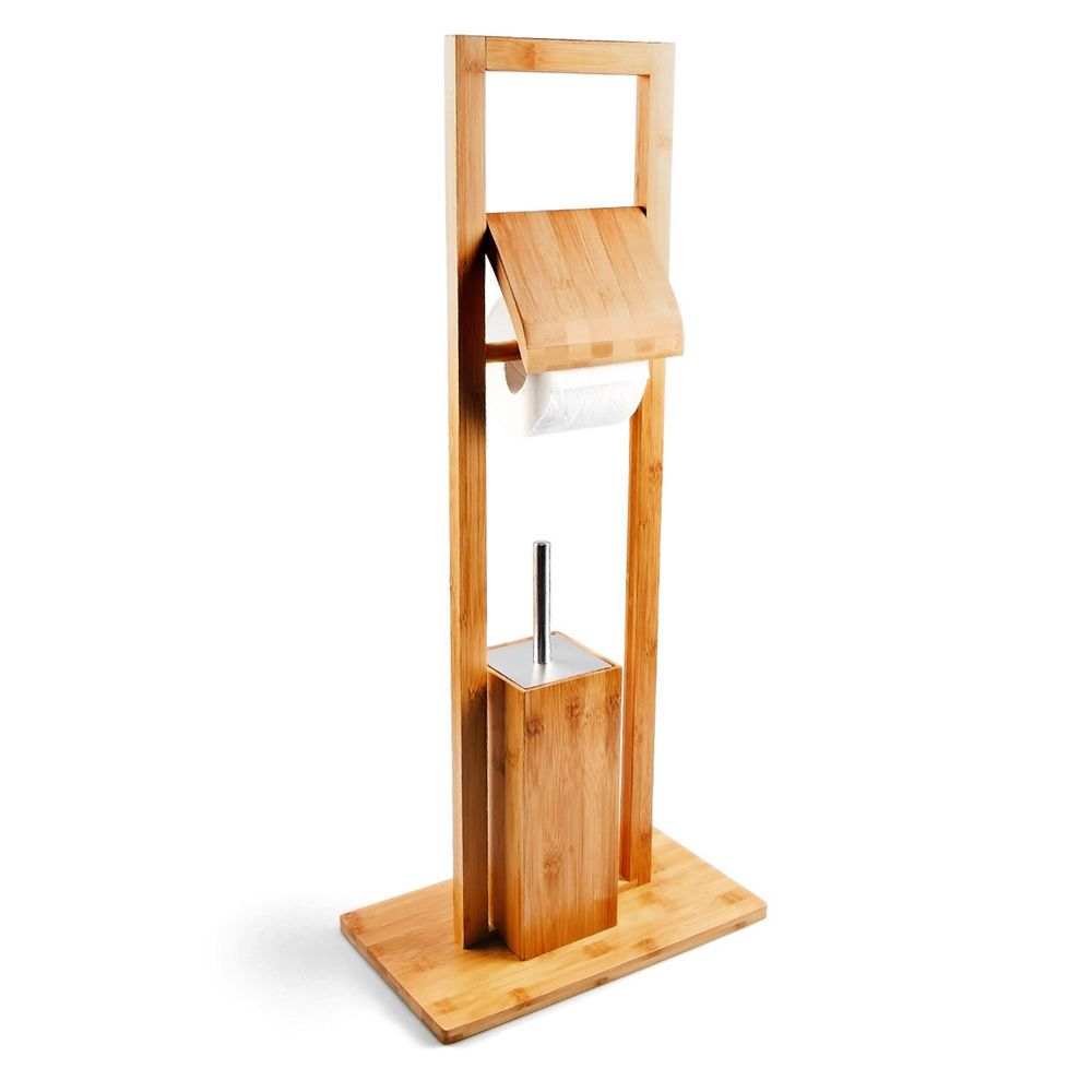 Bamboo Toilet Butler With Toilet Paper Holder