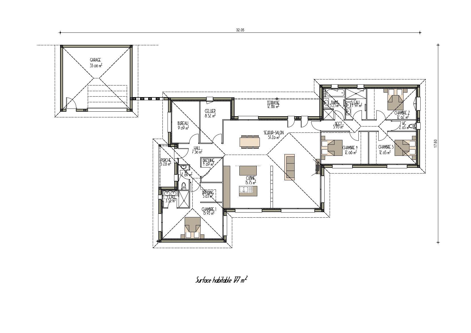 Plan Du0027une Grande Maison Contemporaine (projet ...