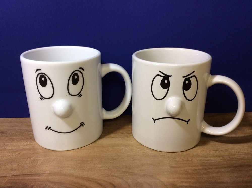 84bd009f1d3 Funny Face Mugs Protruding Nose Set Of 2 White 3D Coffee Cups | Fun ...