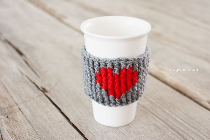 Heart Cup Cozy Crochet Pattern #crochetapplicates Hearts on hats, hearts on shoes, and now a heart cup cozy to wrap a drink with love. #crochetapplicates