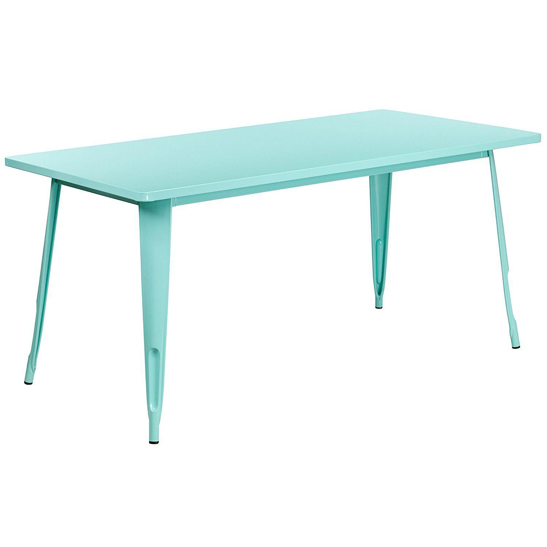 Amazon.com - Flash Furniture ET-CT005-MINT-GG 31.5'' x 63'' Rectangular Mint Green Metal Indoor/Outdoor Table - Tables