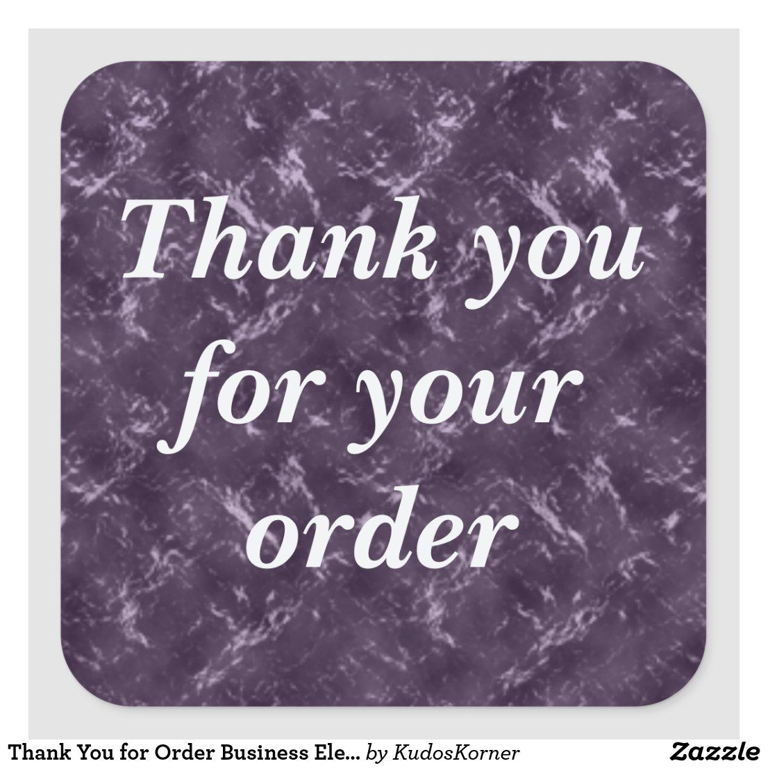 Thank You For Order Business Elegant Purple Square Sticker Zazzle Com Thank You For Order Order Business Thank You Customers