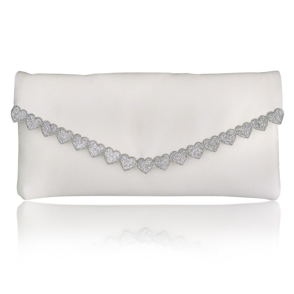 Etta silver heart clutch - NEW!