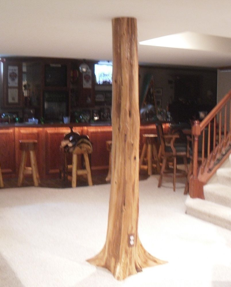Finished luxury basement in naperville rustic basement by djk - Authentic Cedar Log Basement Pole Covers Support Post Wrap Rustic Lodge Tree New