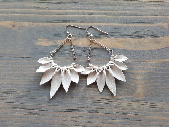 Photo of White Fringe Earrings, Silver Boho Earrings, Bohemian Dangle Earrings, Leather Leaves Earrings, Boho Jewelry, Bohemian Statement Jewelry.