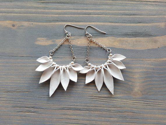 Photo of White Fringe Earrings, Silver Boho Earrings, Bohemian Dangle Earrings, Leather Leaves Earrings, Boho Jewelry, Bohemian Statement Jewelry.