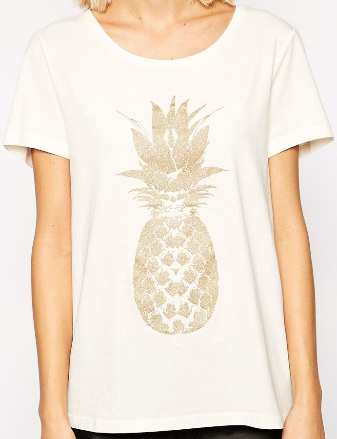d56a587ccf6e gold pineapple [Selected T-Shirt with Glitter Pineapple Print]