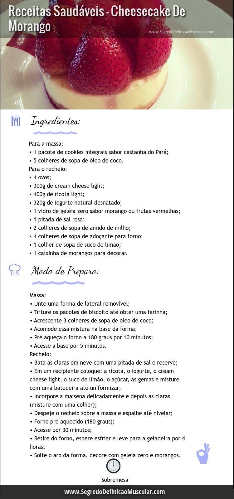 Receitas Saudável de Cheesecake De Morango