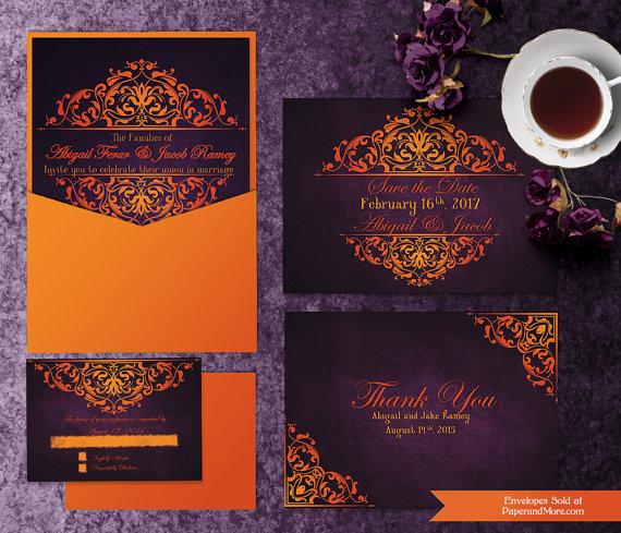 Printable Halloween Wedding Invitation Templates Invitation Suite Save The Purple Wedding Invitations Halloween Wedding Invitations Fall Wedding Invitations