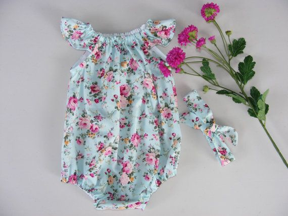 f5597aa40f97 Baby Girl Vintage Rose Romper and Matching Headband Spring Summer Outfit…