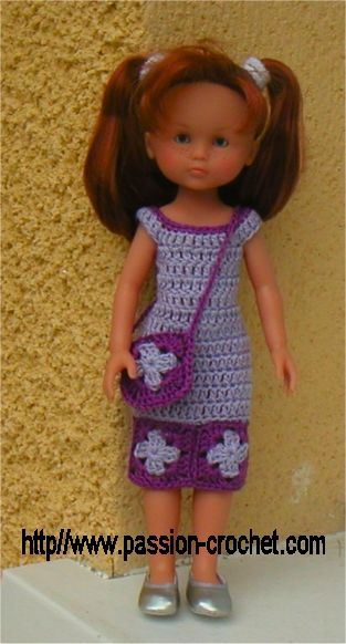 Dress crochet pattern (free, in French) | Hearts for Hearts Dolls ...