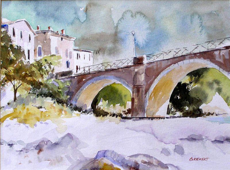 Pont Sur La Drome Aquarelle Paysage
