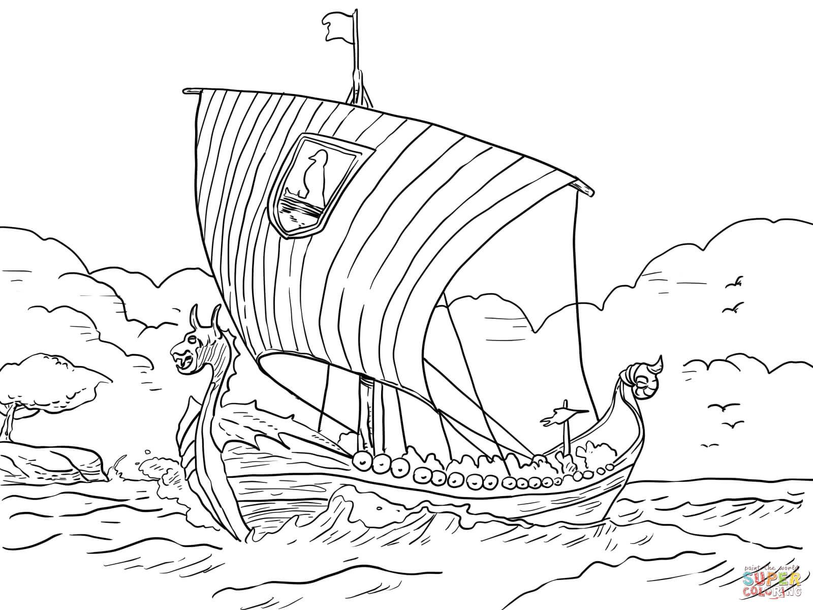 longship viking sea vessel coloring page free printable