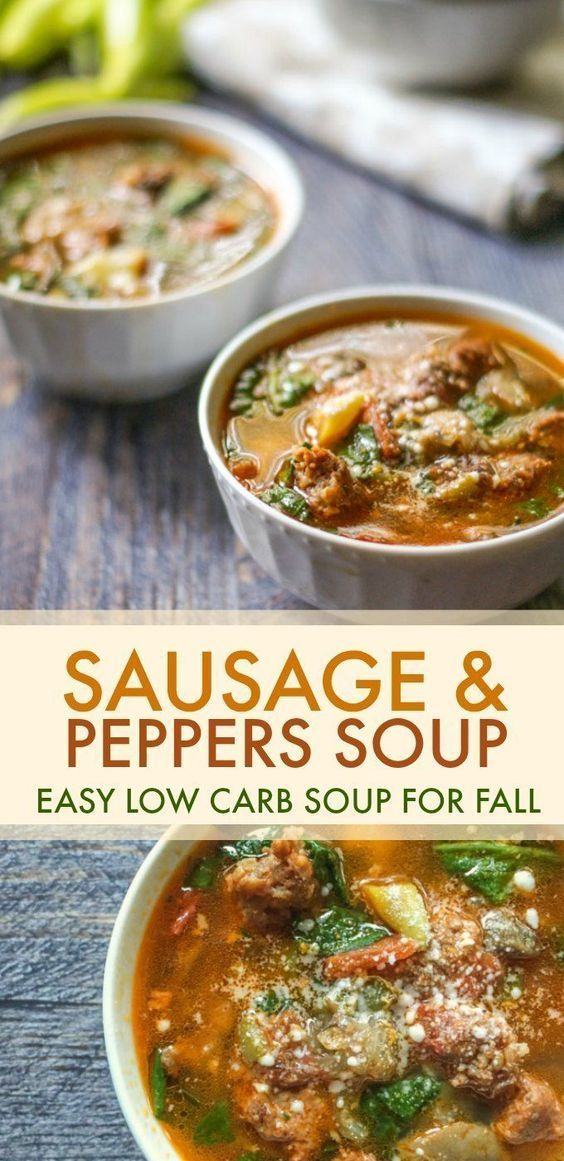 Easy Sausage Peppers Soup A Low Carb Paleo Soup For Fall Recipe Low Carb Soup Recipes Stuffed Peppers Stuffed Pepper Soup