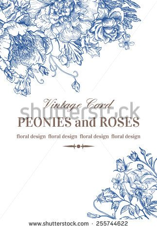 Wedding invitation with roses and peonies in blue on a white - fresh invitation template vector