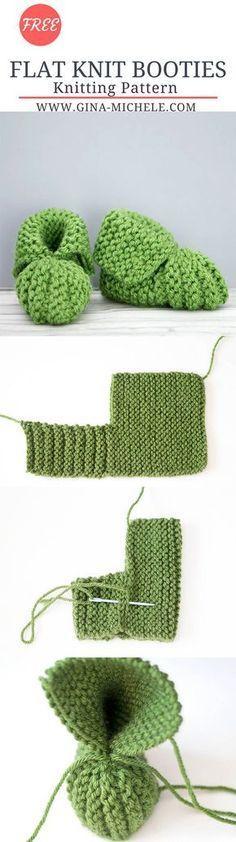 Flat Knit Baby Booties Free Knitting Pattern Knitting Patterns