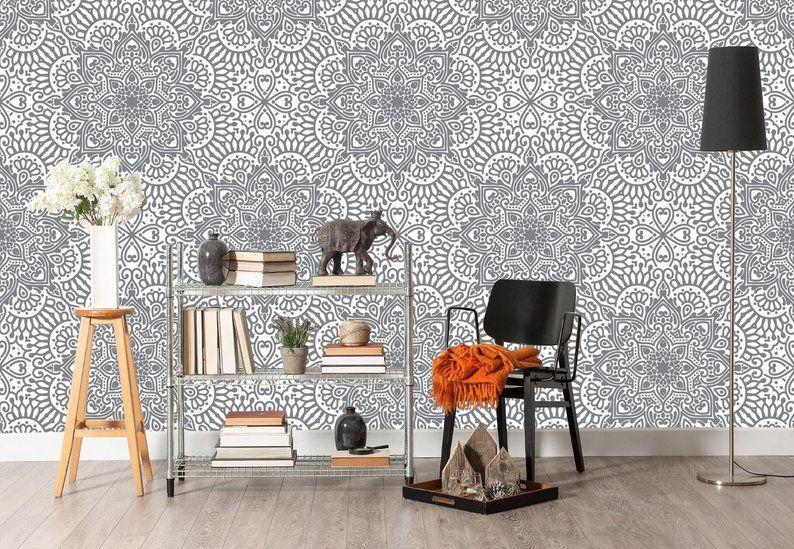 Indian Wallpaper Mandala Black And White Wallpaper Removable Etsy White Wallpaper Black And White Wallpaper Removable Wallpaper