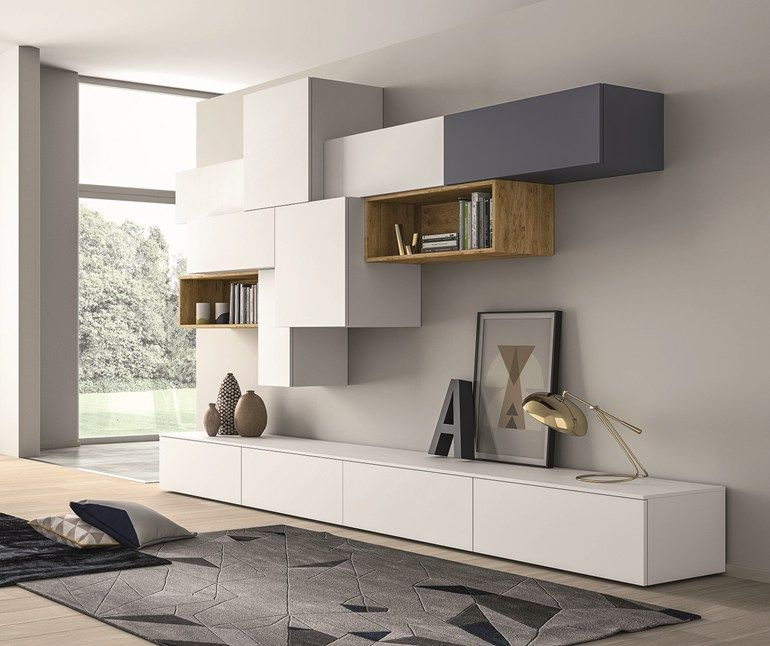 ensemble mural composable laqu e slim 88 by dall agnese d coration pinterest meuble tv tv. Black Bedroom Furniture Sets. Home Design Ideas
