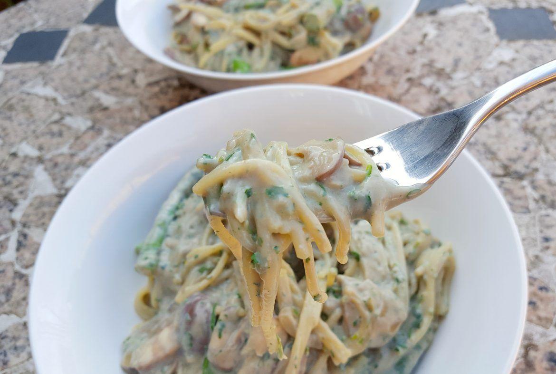 Chestnut and Mushroom Pasta (Gluten-Free, Vegan)