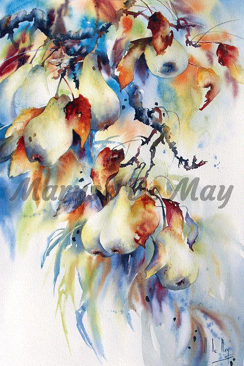 1 08 Floraisons Birnen Negativ Maryse De May Peinture Acrylique