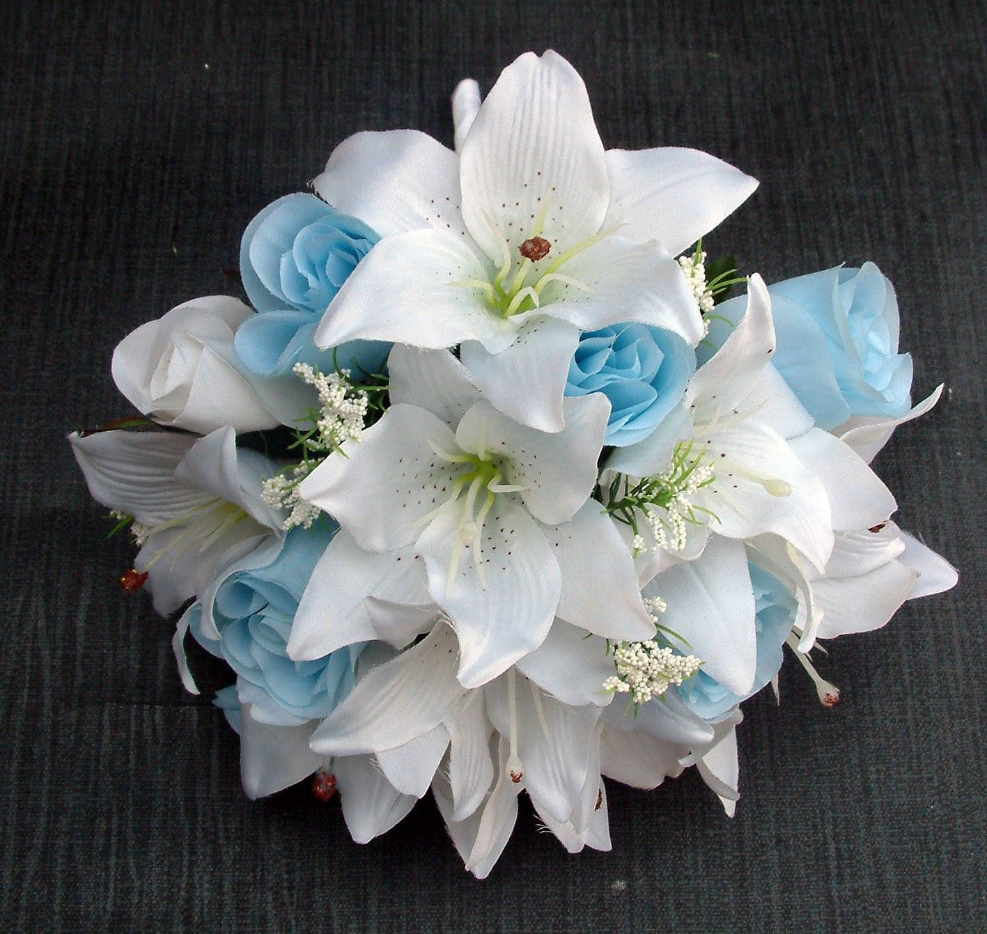 Blue And White Flowers For Weddings: White And Blue Lily Wedding Bouquets