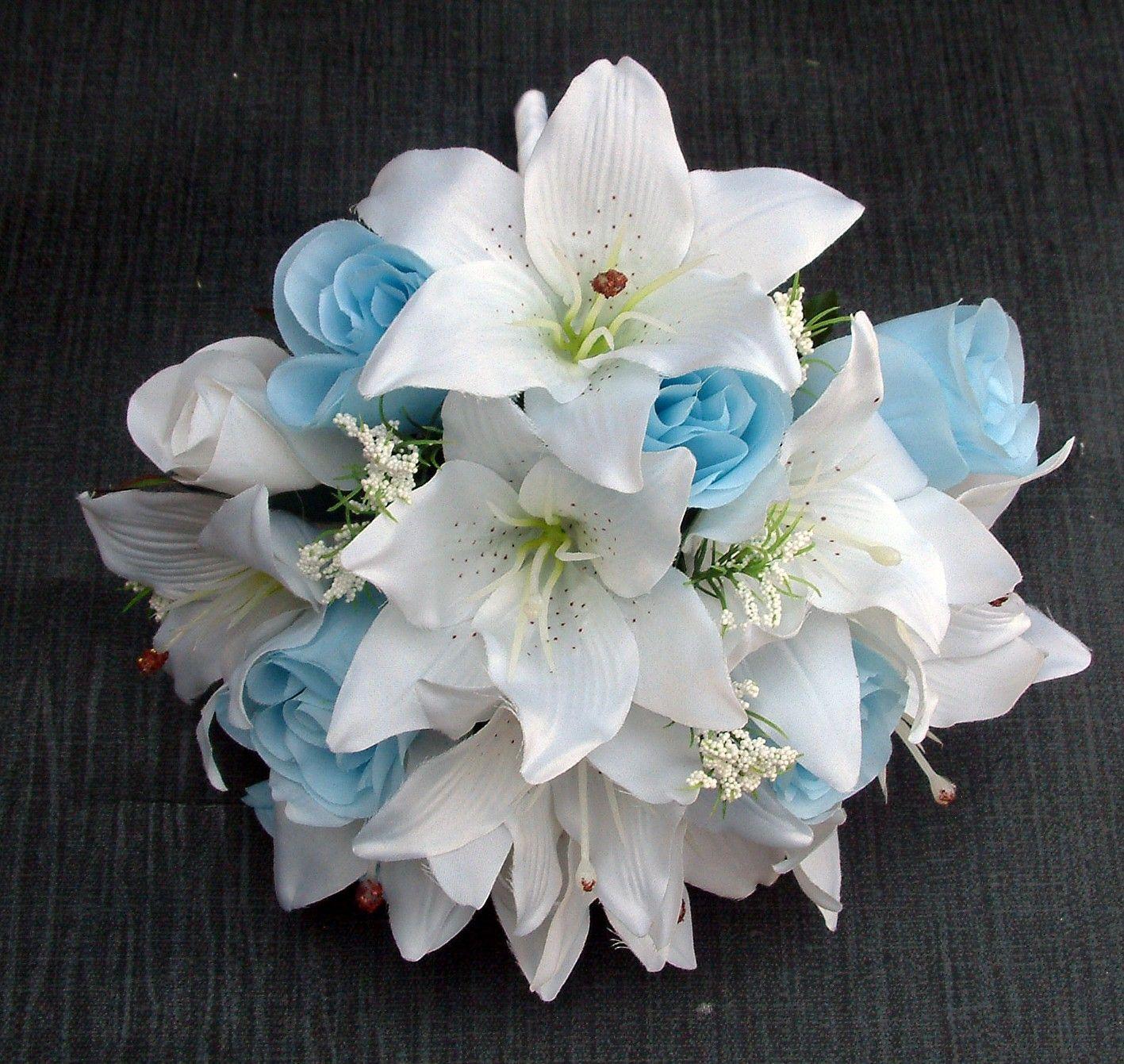 Single rose bridesmaids bouquet artificial light blue for White and blue flower bouquet