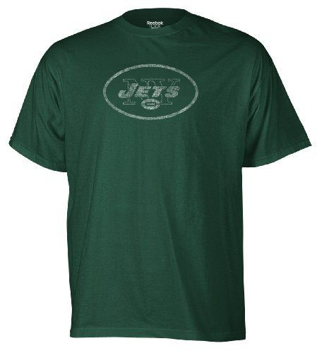 NFL Men's New York Jets Faded Logo Tee (Hunter, Large) Reebok. $10.52