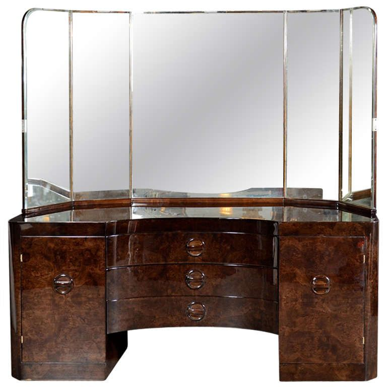 Glamorous Art Deco Vanity in Bookmatched Walnut with Wrap Around ...