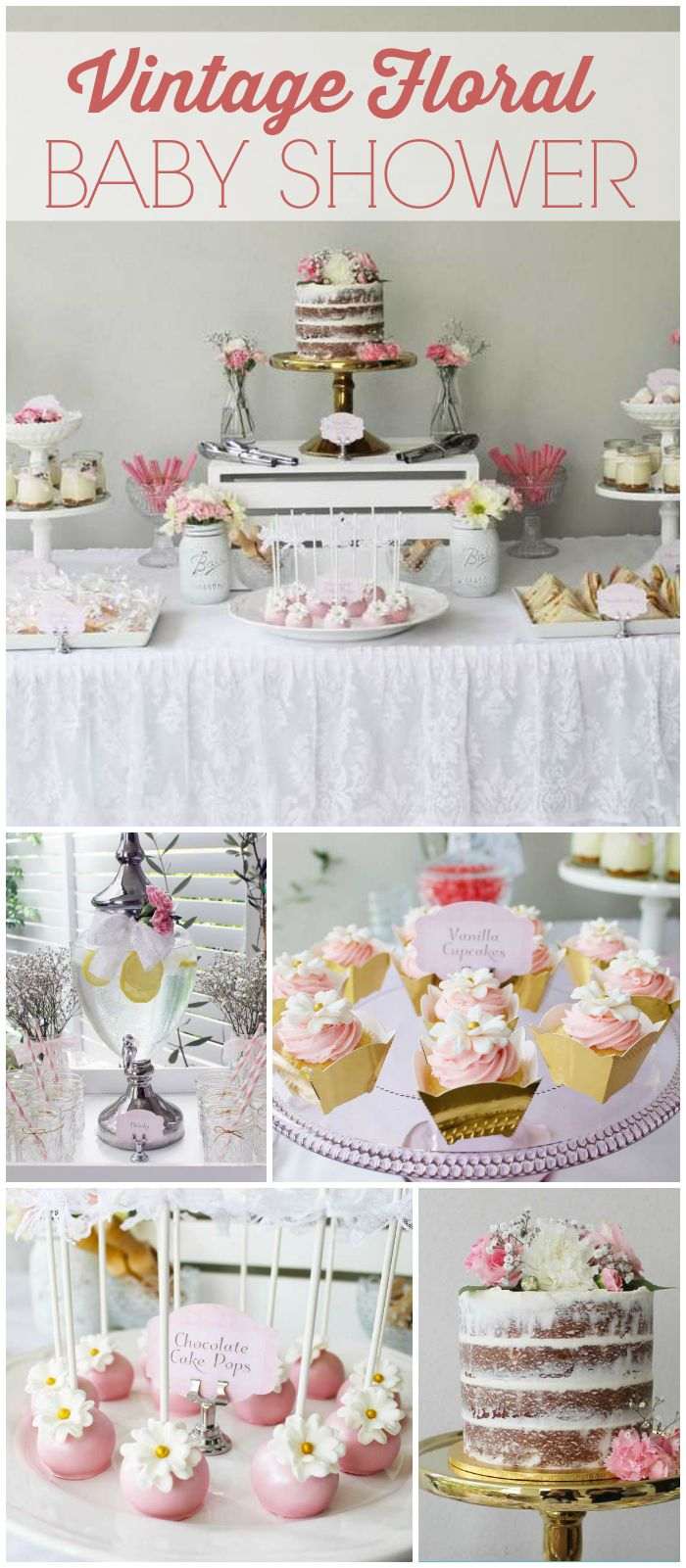 2455a261db8 A lovely vintage floral lace baby shower with a gorgeous cake and pretty  party decor! See more party planning ideas at CatchMyParty.com!