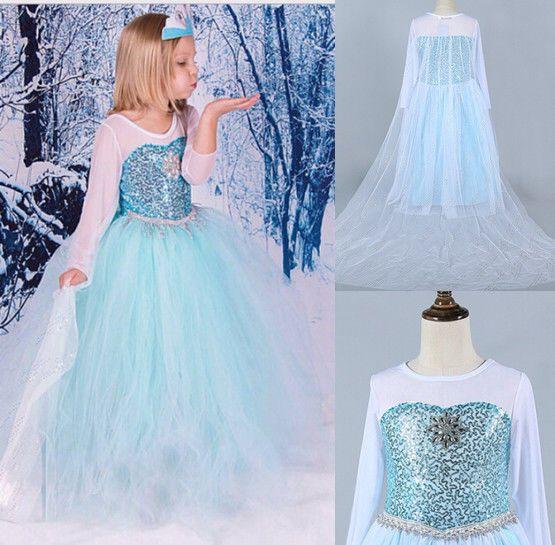 Kinder Frozen Eiskönigin Elsa Kostüm Mädchen Cosplay Kleid Fancy ...