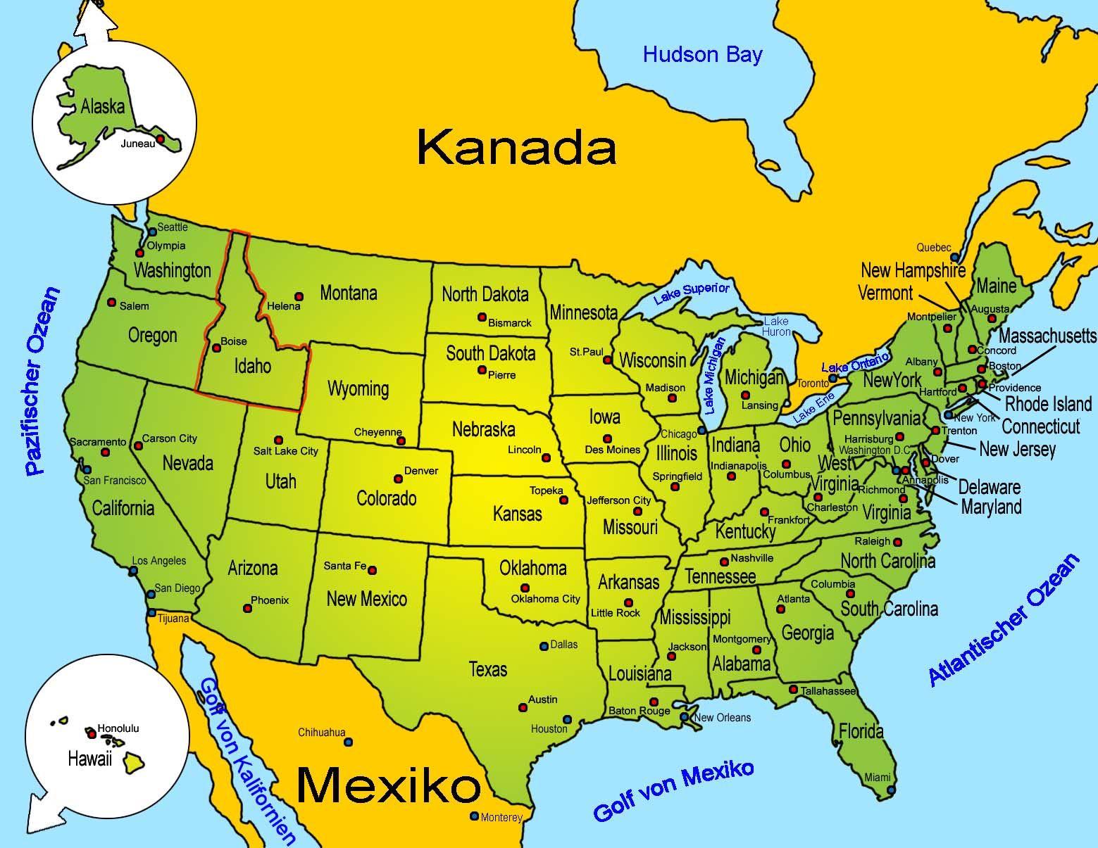 Pin Von Mariusz Deutsch Auf Mapy Landkarte Usa Amerika Karte