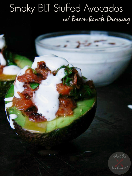 Smoky BLT Stuffed Avocados with Bacon Ranch Dressing | MomsTestKitchen.com