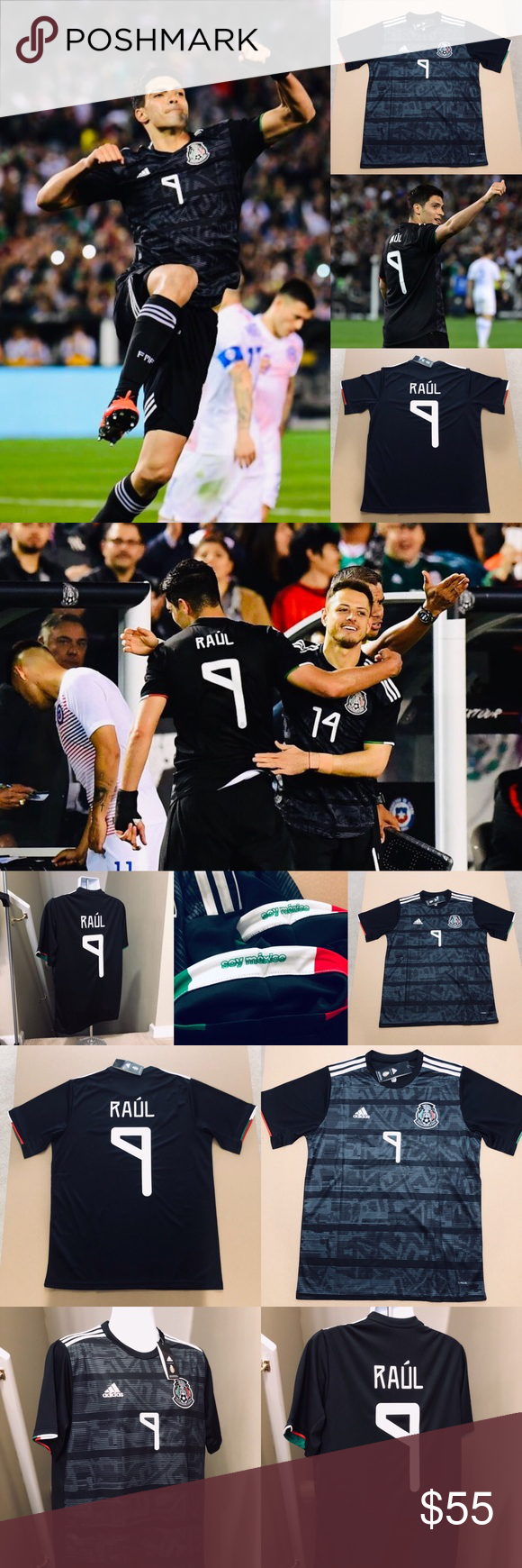 bd4ba595f 2019 Adidas Mexico Raul Jimenez  9 Soccer Jersey 2019 Mexico National Soccer  Football Team •