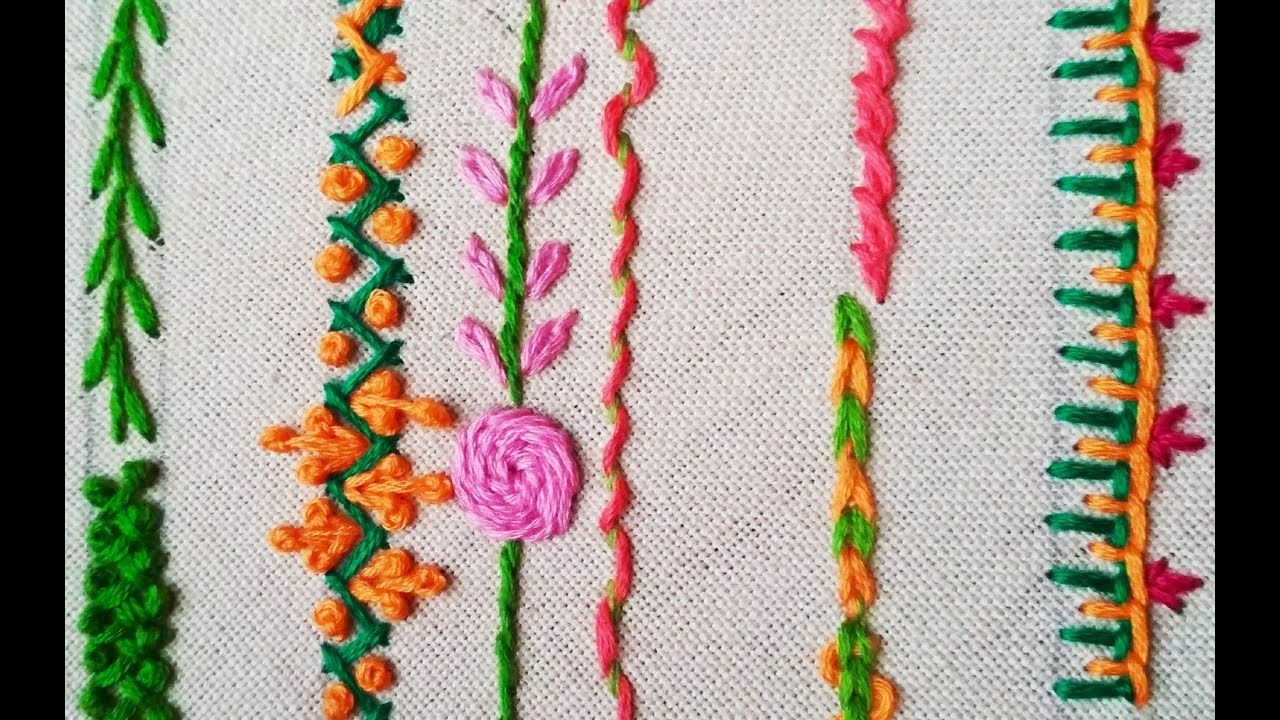 175-Basic stitches for beginners (Hindi /Urdu) | Hand Embroidery ...