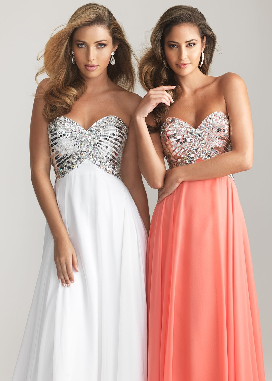 White and coral sequin prom dress with a sweetheart neckline night