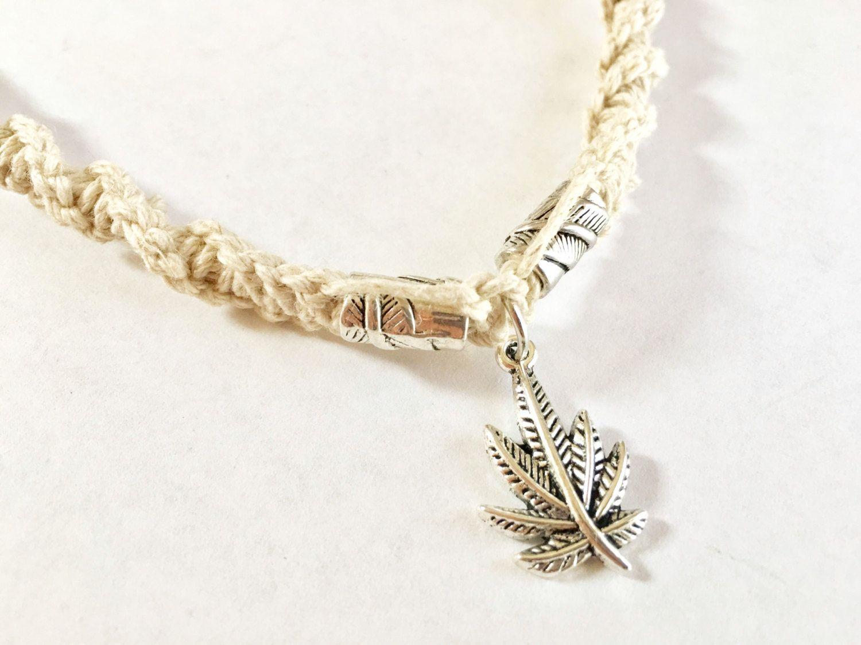Cannabis leaf pendant on handmade natural hemp twist necklace with cannabis leaf pendant on handmade natural hemp twist necklace with leaf beads tibetan silver marijuana aloadofball Images