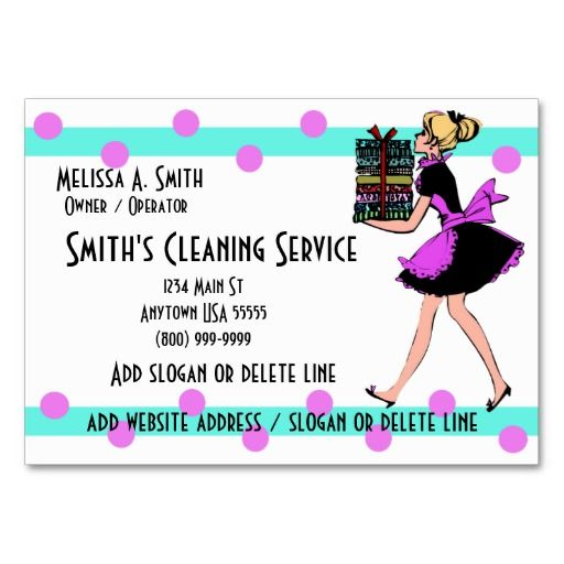 Polka Dot Cleaning Service Business Cards | Maid Services Business ...