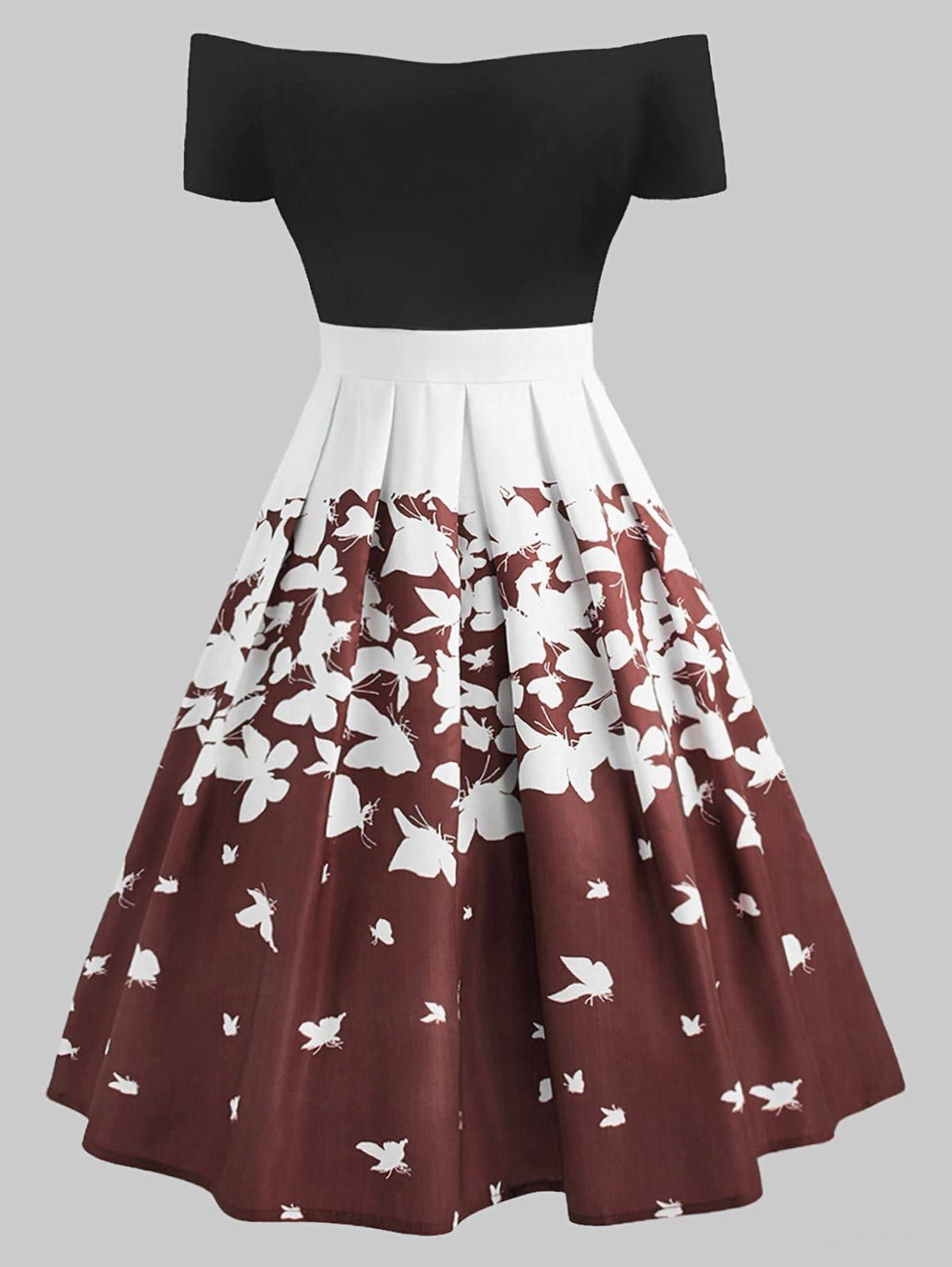 Plus Size Retro Butterfly Off The Shoulder Dress 600597300289616282 Plus Size Retro Dresses Retro Dress Fancy Dresses [ 1596 x 1200 Pixel ]