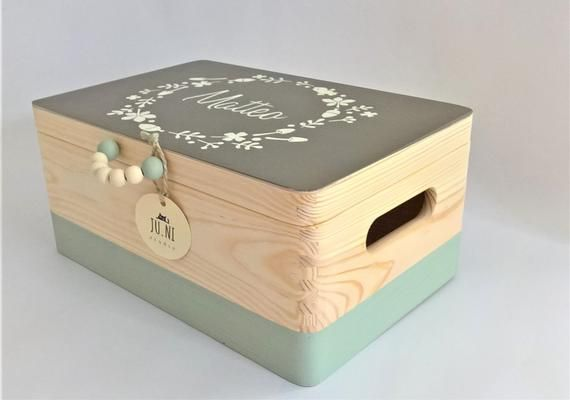 Ju. NI studio gift box turquoise, customizable wooden treasure chest, gift for baptism or birth, nursery décor, baby room