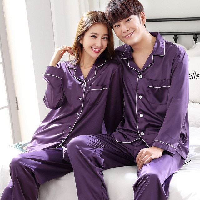 35c61a681bf1 Purple Spring Women Sexy Nightwear 2pc Shirt Pants Sleep Pajamas Sets  Sleepwear Faux Silk Silky Nightgown Robe Bath Gown Clothes Review