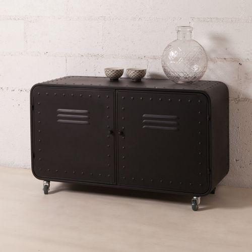 buffet bas en m tal 2 portes casiers decoclico factory noir factory pinterest buffet bas. Black Bedroom Furniture Sets. Home Design Ideas