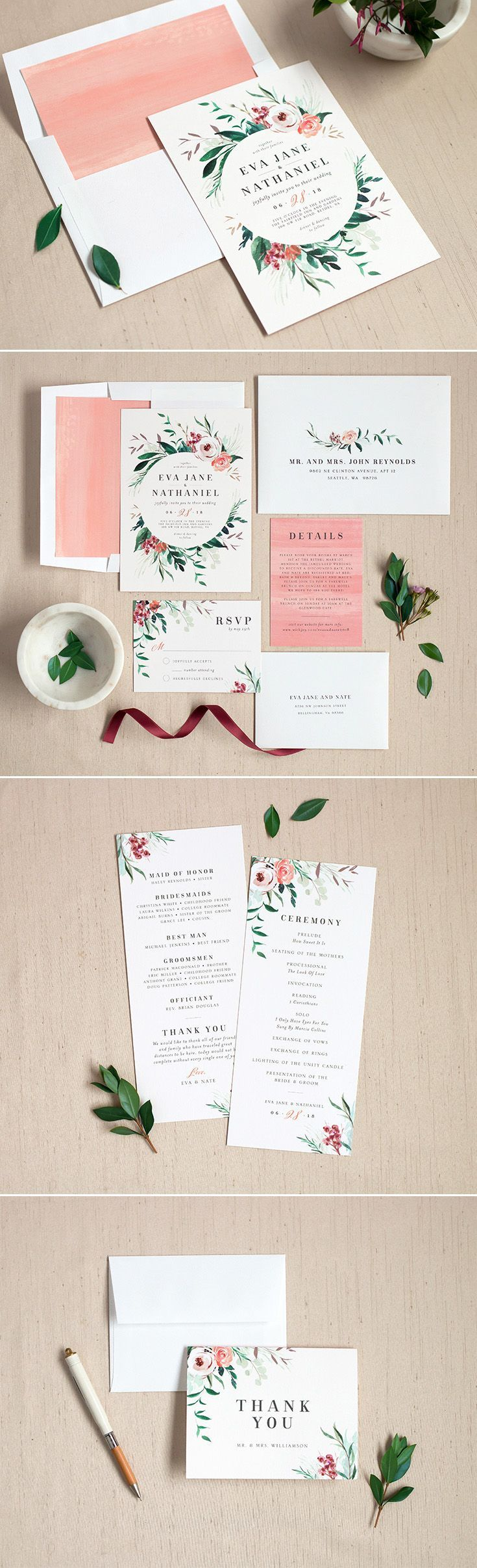 Wild Wreath Wedding Invitation Suite With Gorgeous Florals And