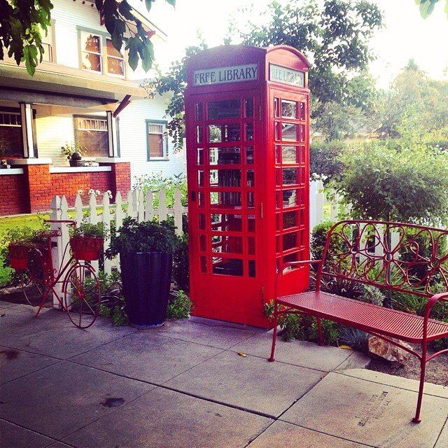 Phone Booth Little Free Library In Bakersfield Ca Little Free Libraries Free Livres